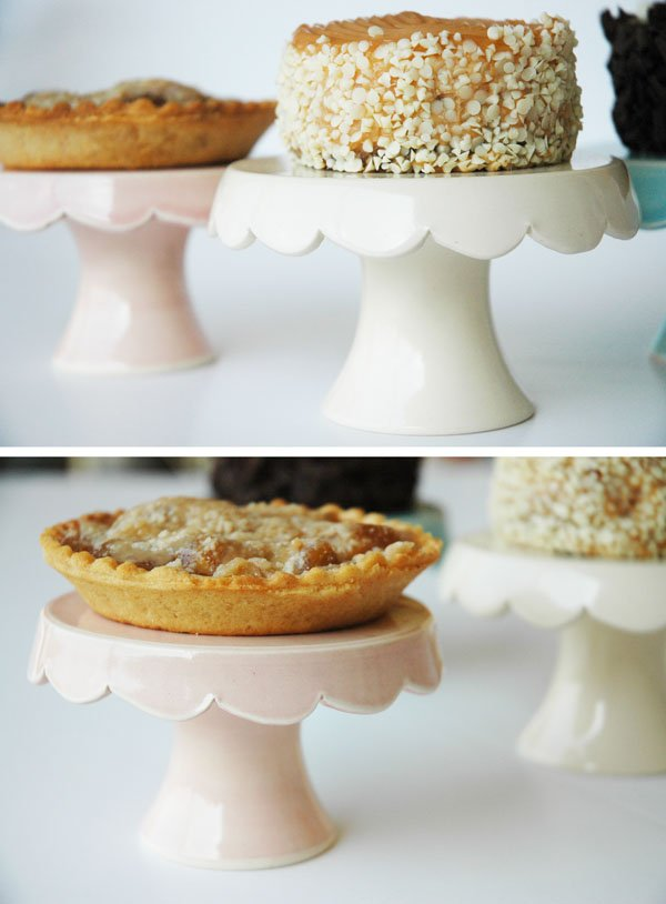 Mini Cakes and Pies displayed on Homemade Cupcake Stands