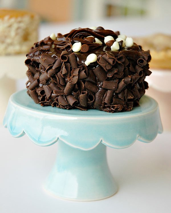 Mini Chocolate Jack Daniels Cake displayed on Cupcake Stand