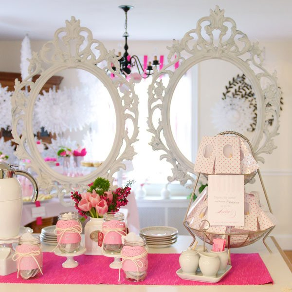 modern pink tea party baby shower hostess with the mostess
