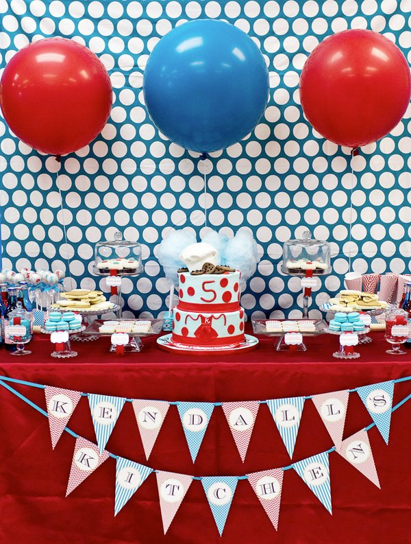 Adorable cooking inspired birthday party hostess with - Red white and blue party ideas ...
