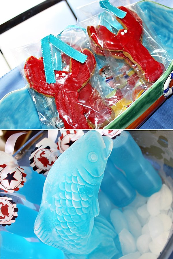 Lobster Cookies and Ice Sculpture