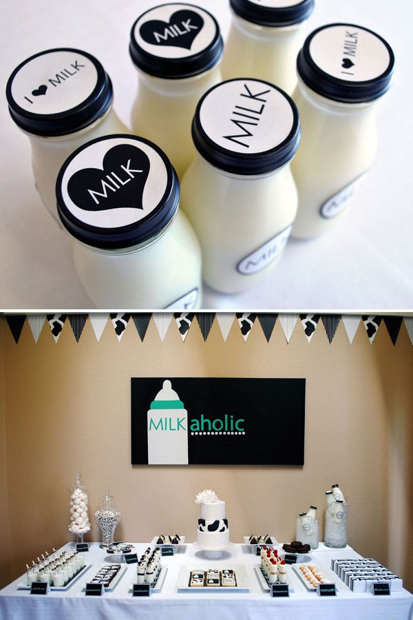 Milk Bottles and Dessert Table