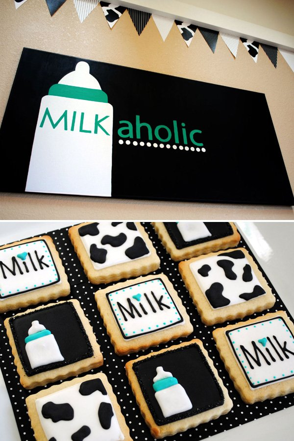 Milkaholic Sign and Cookies