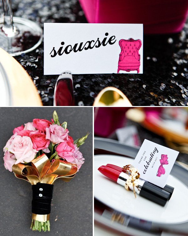 Pretty in Punk Hot Pink & Black Wedding