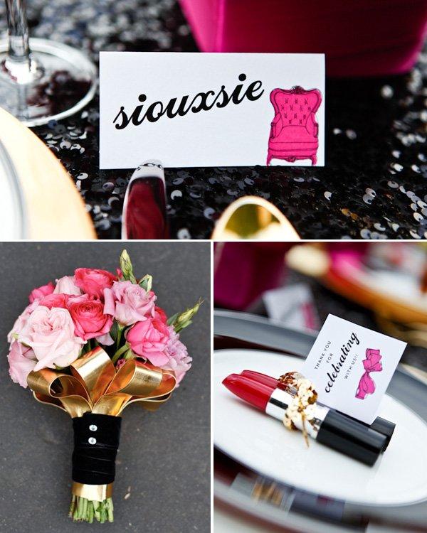 Pretty in Punk Hot Pink & Black Wedding