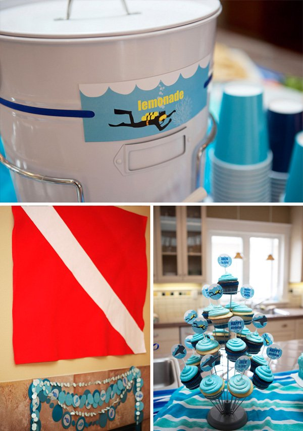 shark and scuba birthday party