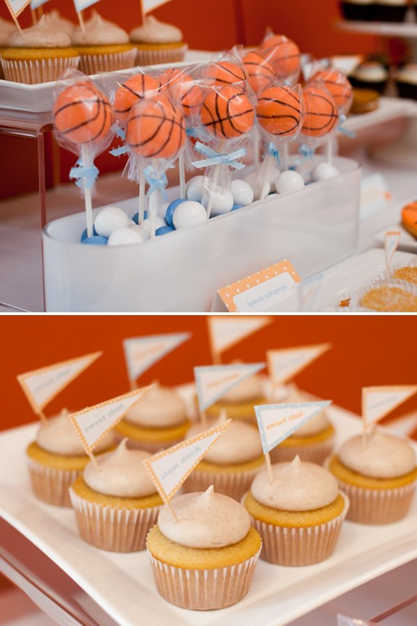 Basketball Cakepops and Mini Cupcakes