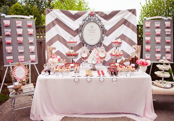 Vintage Modern Pink & Gray Bridal Shower