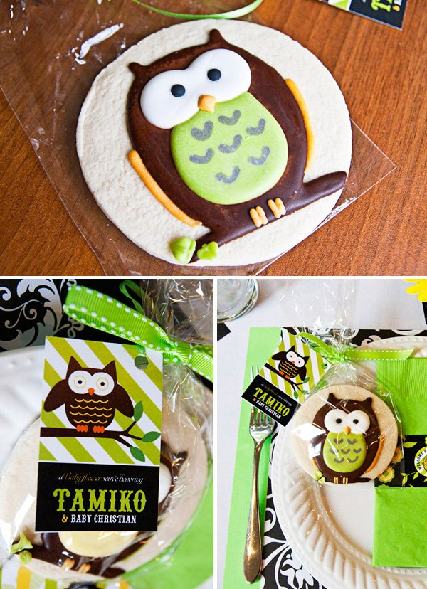 owl baby shower cookies by Sweetopia