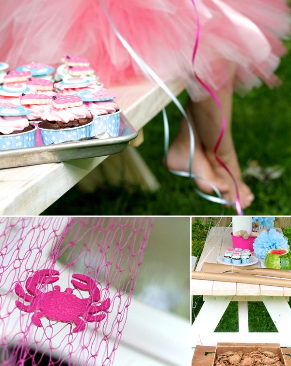 Crabby girl & party decor