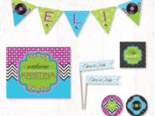 blue, green and purple record baby shower party printables
