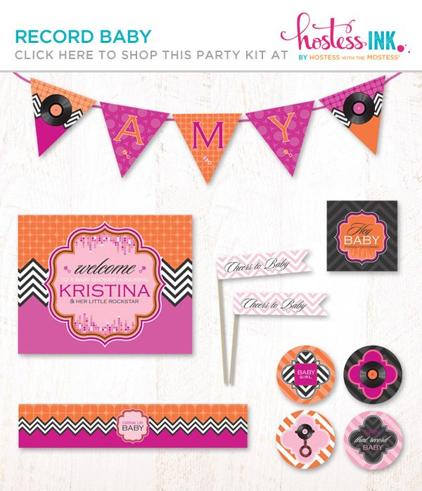 pink and purple girl's record baby shower party printables