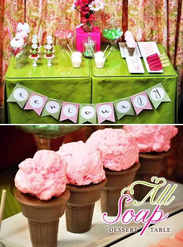 Girls Spa Birthday Party Dessert Table