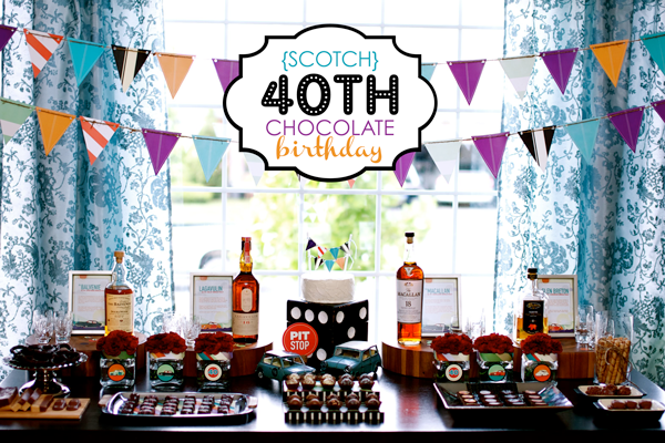 Scotch chocolate 40th birthday party hostess with the for 40th party decoration ideas