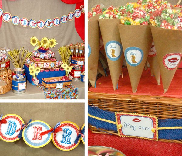 Toy Story Party Banner, Popcorn Cones and Dessert Table details