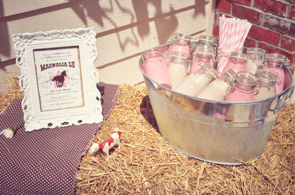 Cowgirl Pink and White Milk Bottles
