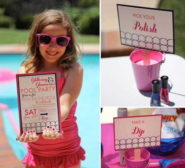 Retro Glam Pool Party Girls Birthday