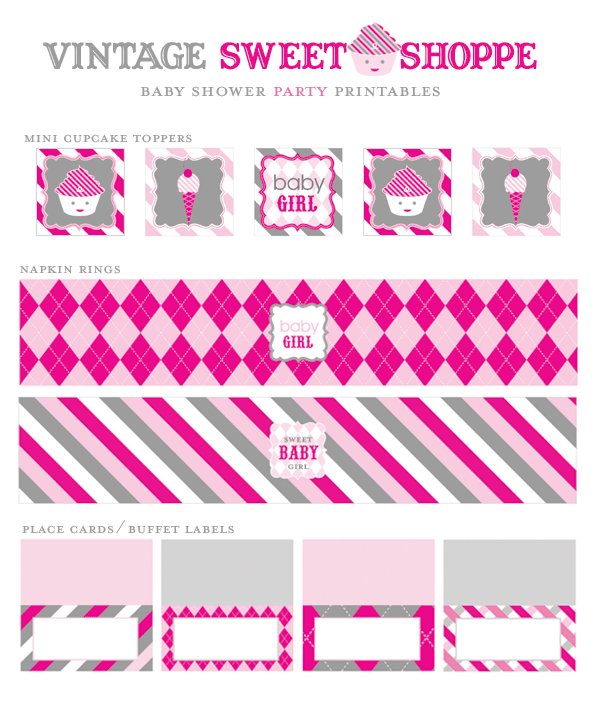 Sweet Shoppe Baby Shower Girl Printables