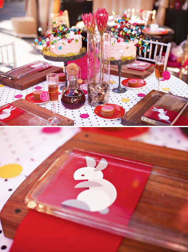 wonderlandia bridal shower confetti and rabbits