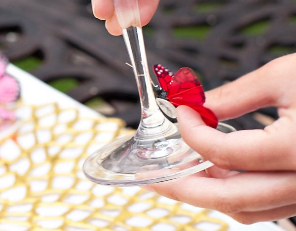 DIY Butterfly Wine Glass Charms