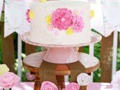 Birthday Cake displayed on small wooden stool