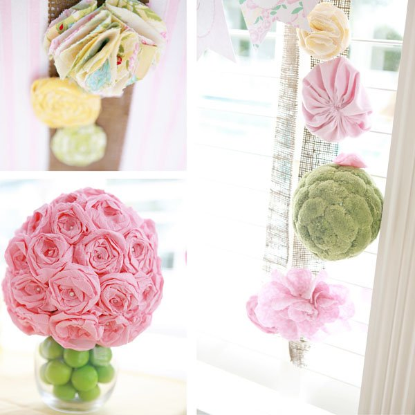DIY Fabric and Paper Flower Decor