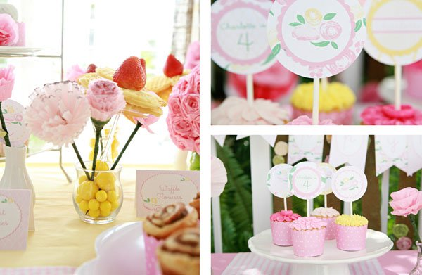 Pink Flower Party Dessert and Brunch Tables