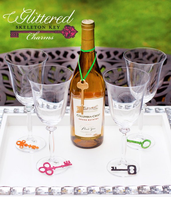 Skeleton Key Wine Charms