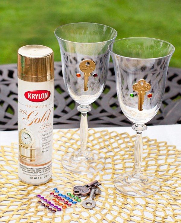 Skeleton Key Wine Glass Charms