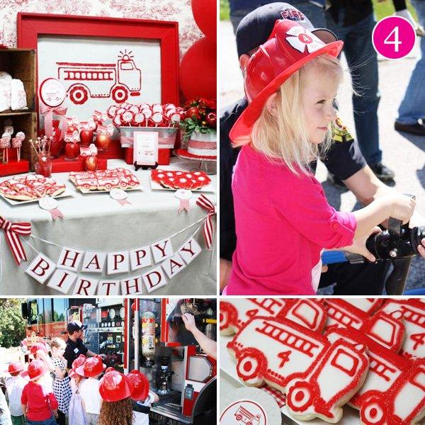girls firetruck birthday party