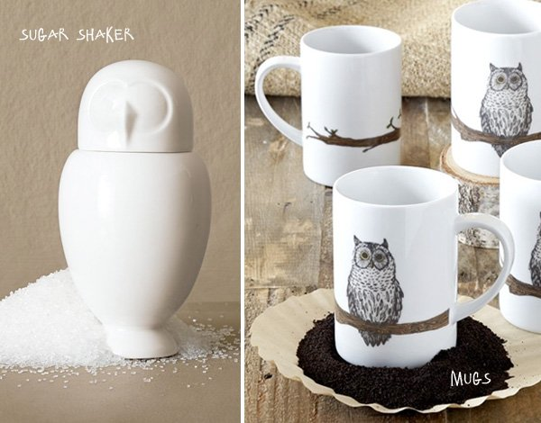Owl Mugs and Sugar Shaker - West Elm