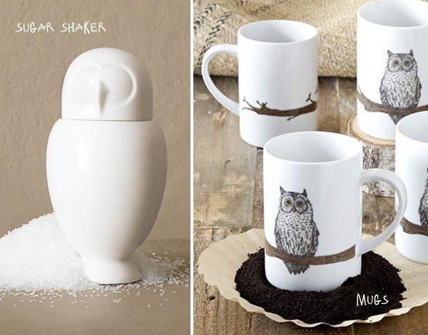 Owl Mugs and Sugar Shaker - West Elm