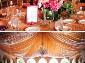 Wedding decorated in purple, pink and gold. Full room and table settings close ups.