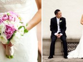 Wedding decorated in purple, pink and gold. Bride and groom photo shoot and closeup on the pink and white bouquet