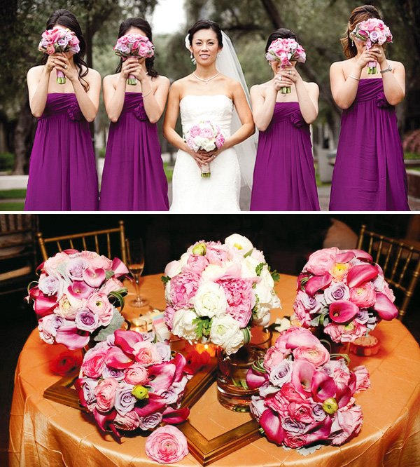 Wedding decorated in purple, pink and gold. Bridesmaids in purple dresses and floral arrangements.
