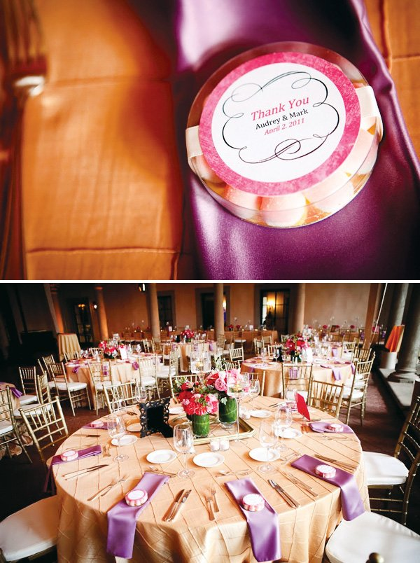 Wedding decorated in purple, pink and gold. Table arrangements and favors.