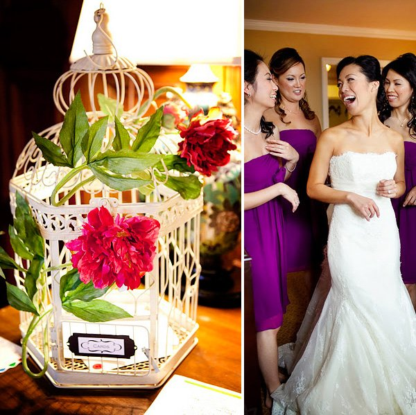 Wedding decorated in purple, pink and gold. Bride with her bridesmaids and a birdcage with flowers.