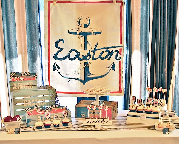 stylish vintage nautical baby shower hostess with the mostess