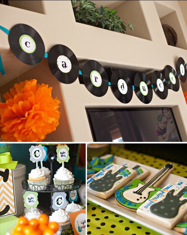 cool modern rock star baby shower hostess with the mostess. Black Bedroom Furniture Sets. Home Design Ideas