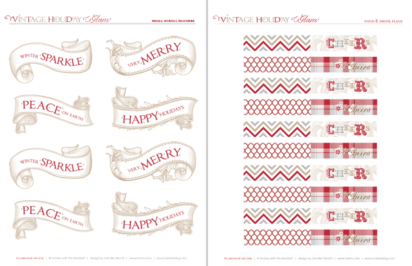 Vintage Glam Holiday - Free Printables