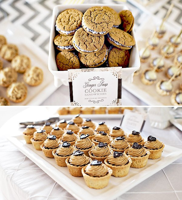 silver and white dessert table