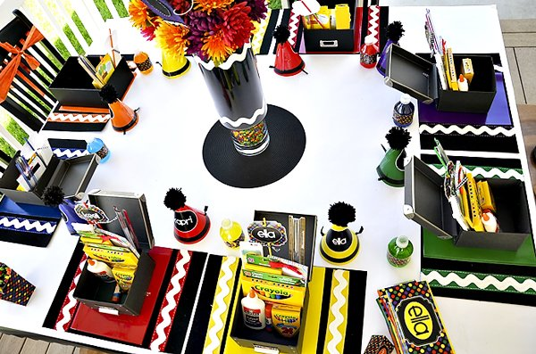 rainbow crayon birthday party kids table