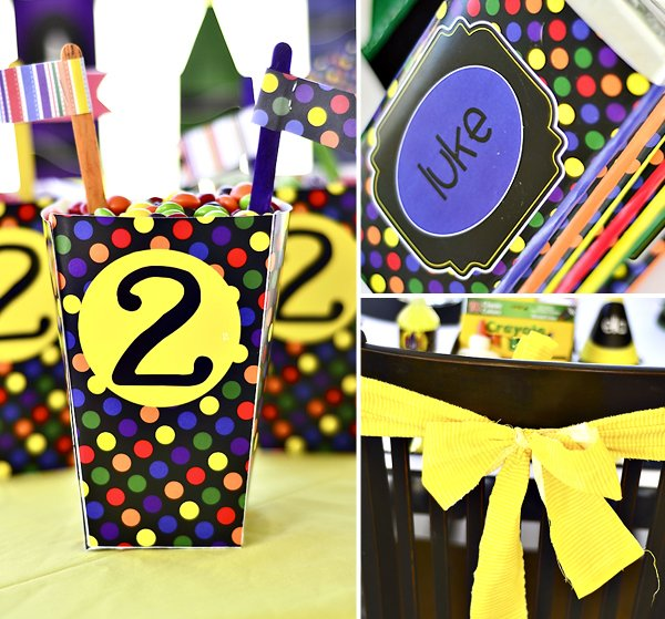 rainbow polka dot crayon party favors and candy