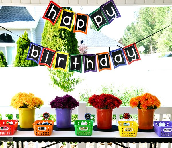 Crayon Birthday Party Banner and Activities