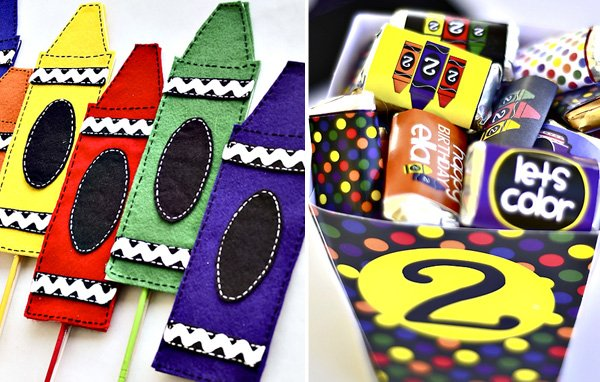 rainbow crayon party decorations and chocolates