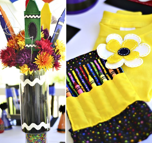 Crayon Birthday Centerpieces and Apron