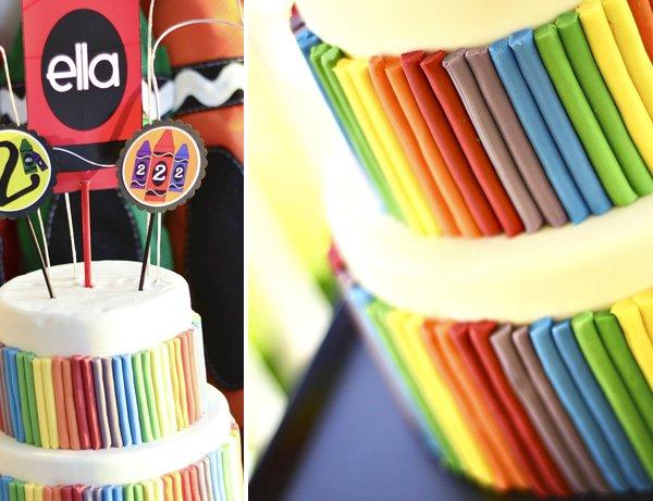 rainbow crayon themed birthday cake