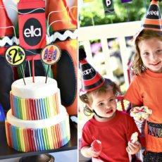 Crayon Birthday Party Rainbow Cake