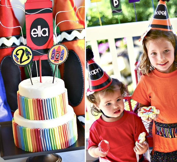 Crayon Birthday Party Rainbow Cake