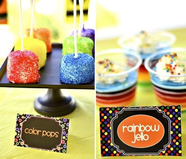 Rainbow Jello and Rainbow Marshmallow Pops